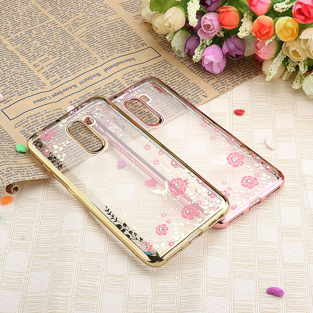 Bakeey Diamond Plating Clear Cover Soft TPU Flower Protective Case For Xiaomi Pocophone F1