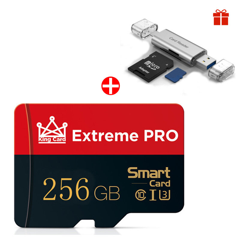 [With Free Card Reader] Extreme Pro High Speed 256GB Class 10 TF/SD Memory Card Flash Drive For iPhone 12 For Samsung Ga