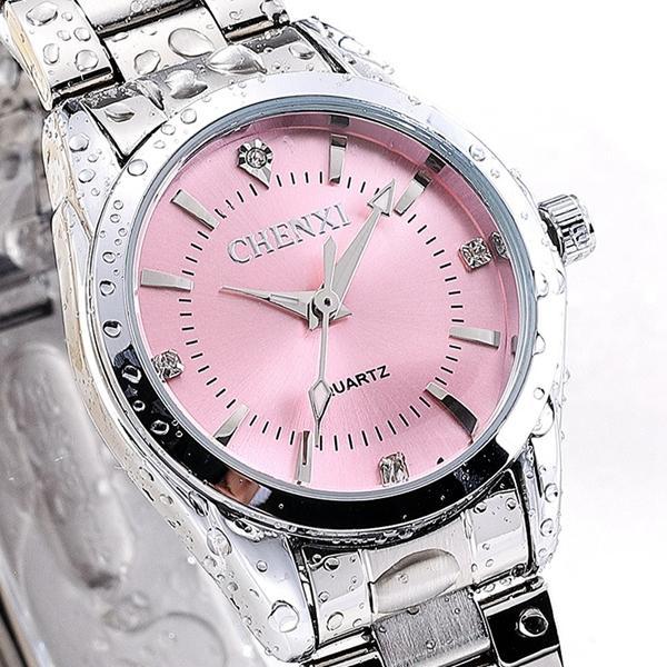 CHENXI 021B Rhinestone Fashionable Women Watches Besi tahan karat Strap Kuarsa Watches