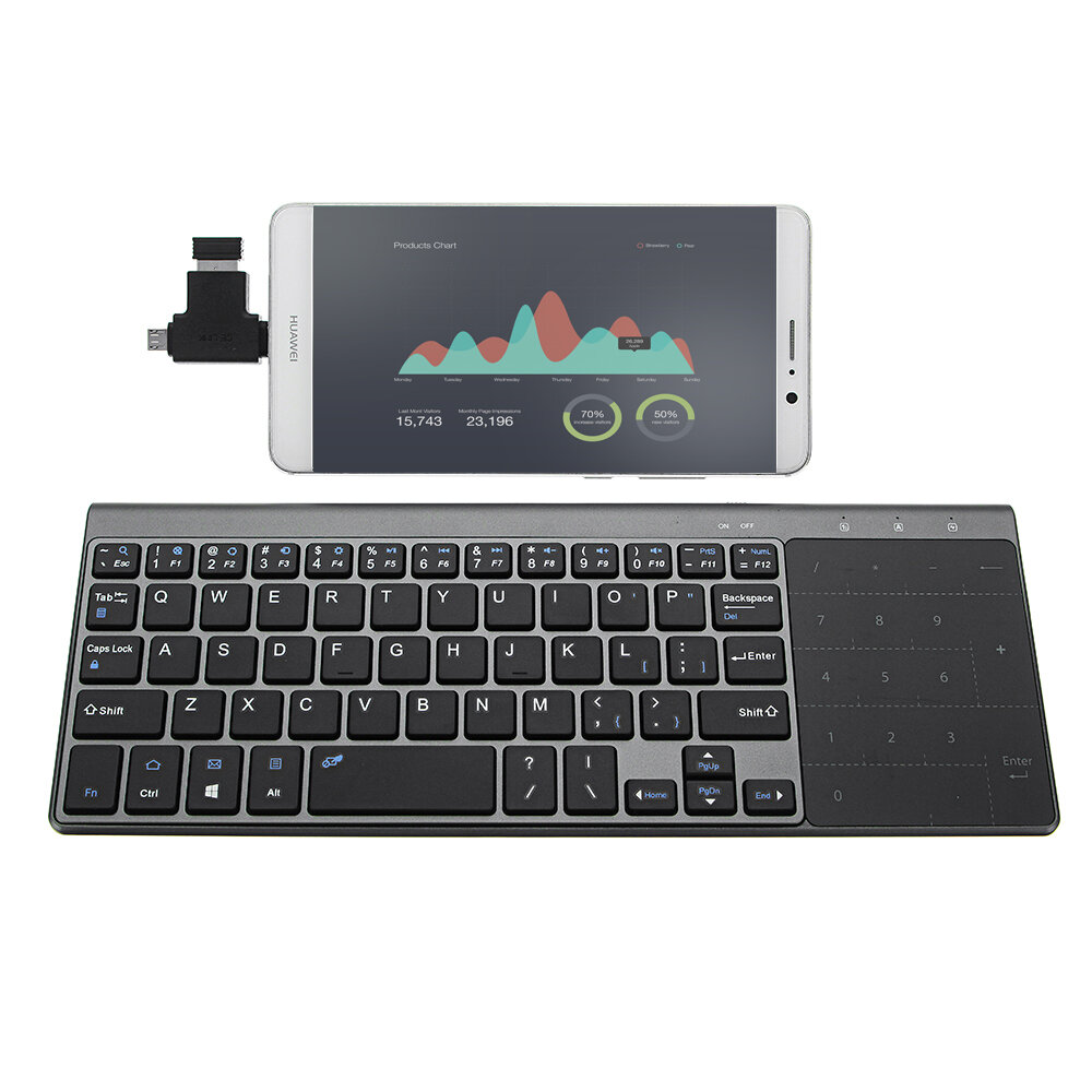 319a77e1de1 JP136 Ultra Thin 2.4GHz Wireless Keyboard with Touch Pad for Laptops  Desktop Computers COD