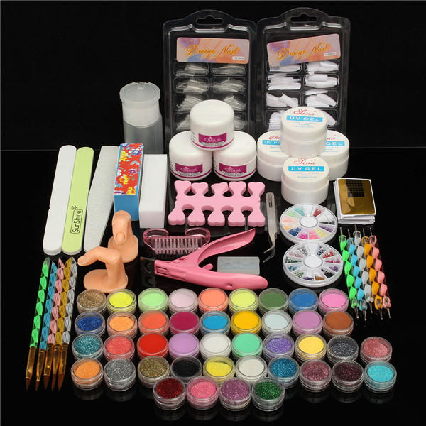 42 Colors Nail Art Set Manicure Kit Gel Polish Acrylic Glitter Powder File Tips Decoration Display
