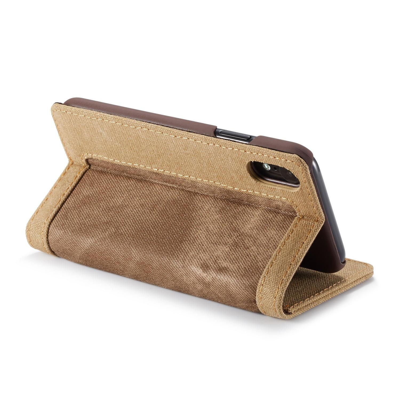Canvas Magnetisk Flip Bracket Lommebok Beskyttelsesveske For iPhone XR