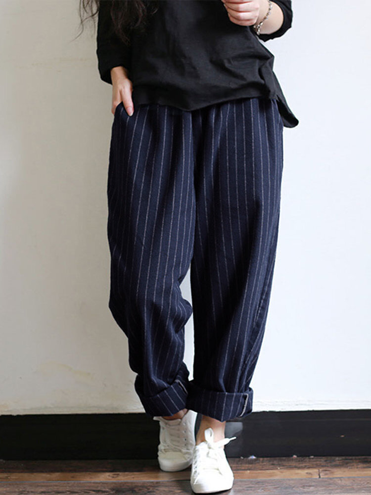 united states the best attitude new high quality Women High Elastic Waist Striped Loose Cotton Harem Pants