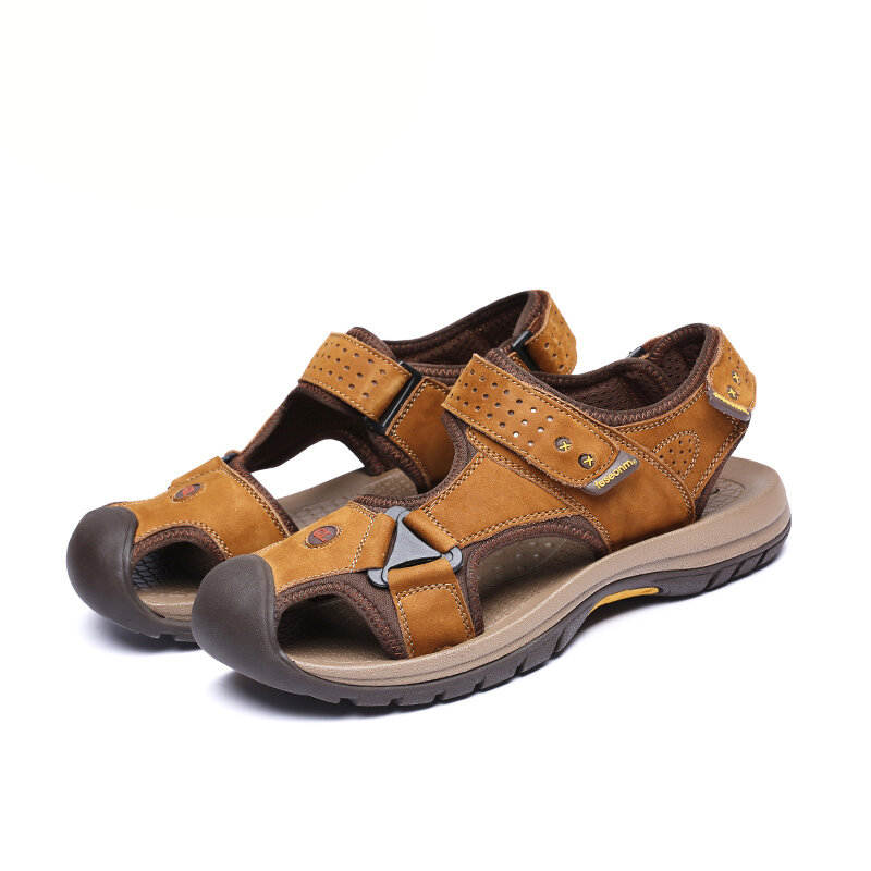 TK-50 Summer Men Genuine Leather Cowhide Beach Shoes Casual Suede Leather Sandals Slippers