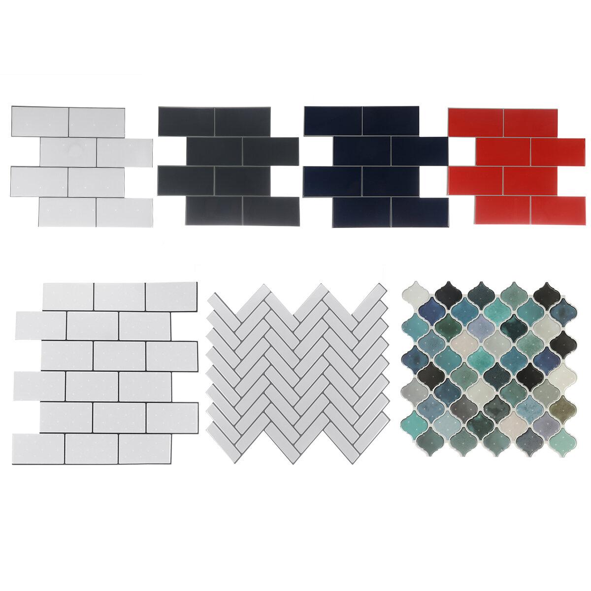 12 بوصة لتقوم بها بنفسك بلاط ملصقات ثلاثية الأبعاد جدار من الطوب ذاتية اللصق ملصق الحمام المطبخ
