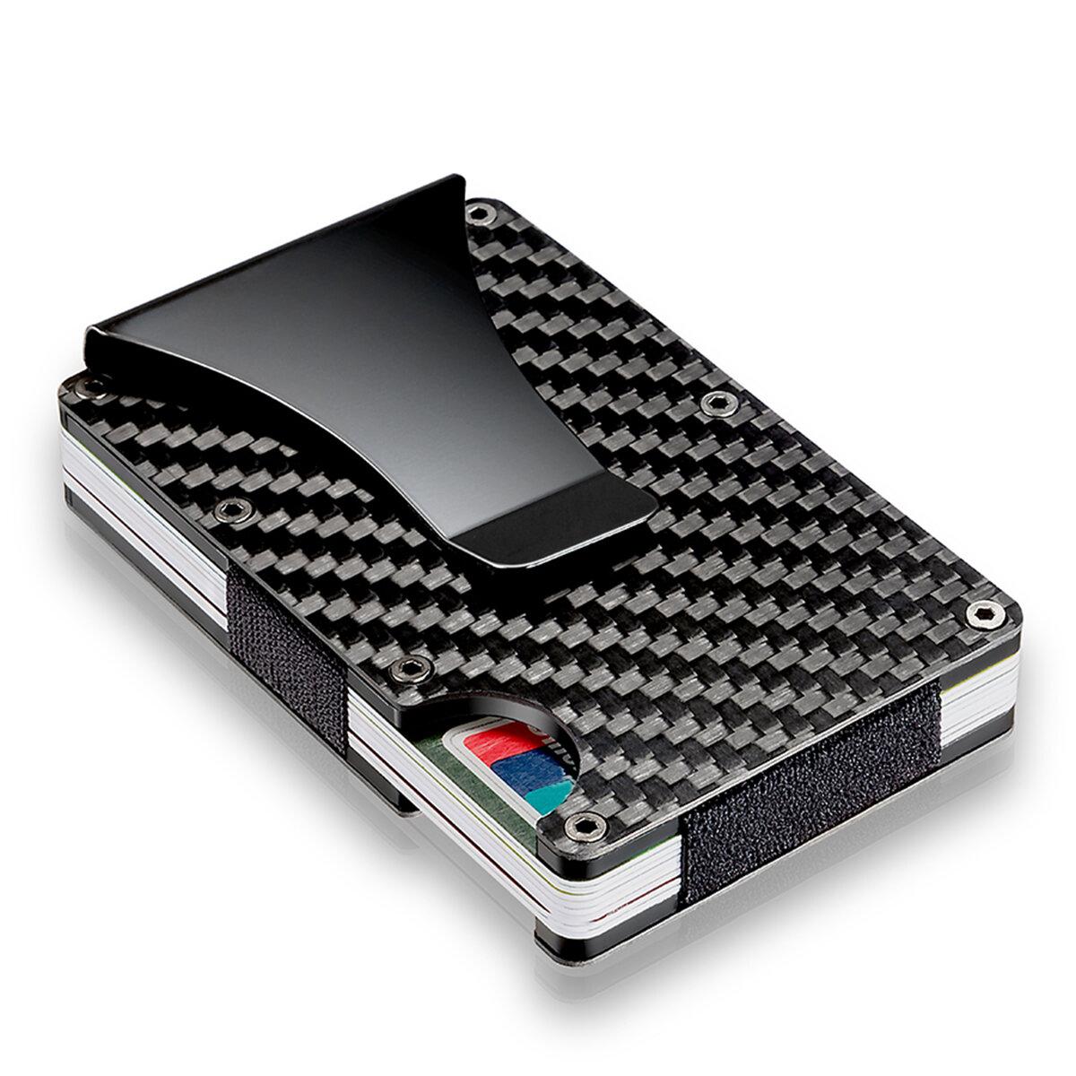 5d94d4e5249 Slim Carbon Fiber Credit Card Holder RFID Blocking Metal Wallet Money Clip  Case