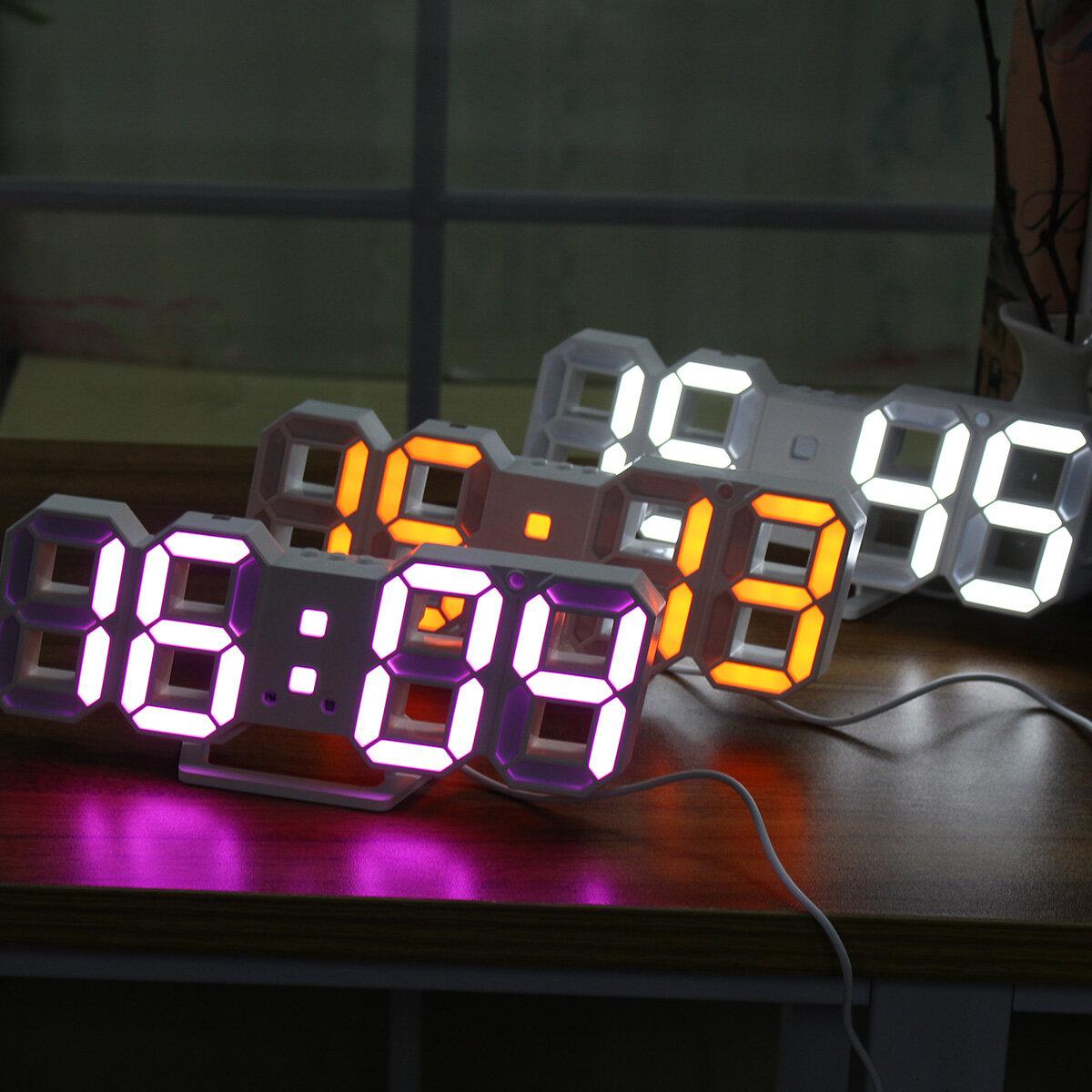 Duży nowoczesny zegar cyfrowy zegar ścienny szkielet zegar 24/12 godzin 3D Gife