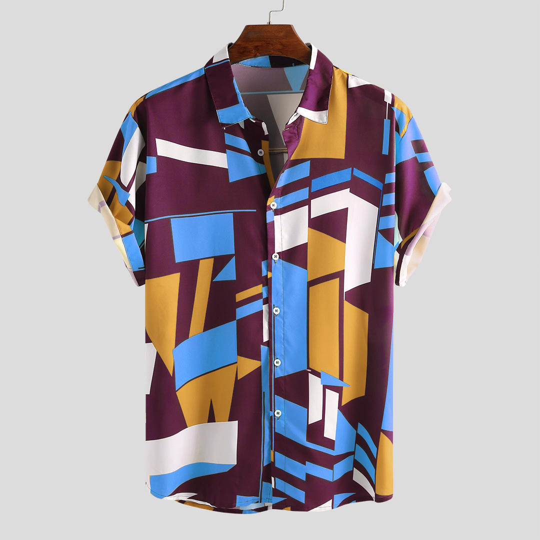 Mens Fashion Colorful Contrast Color Printing Loose Casual Shirts