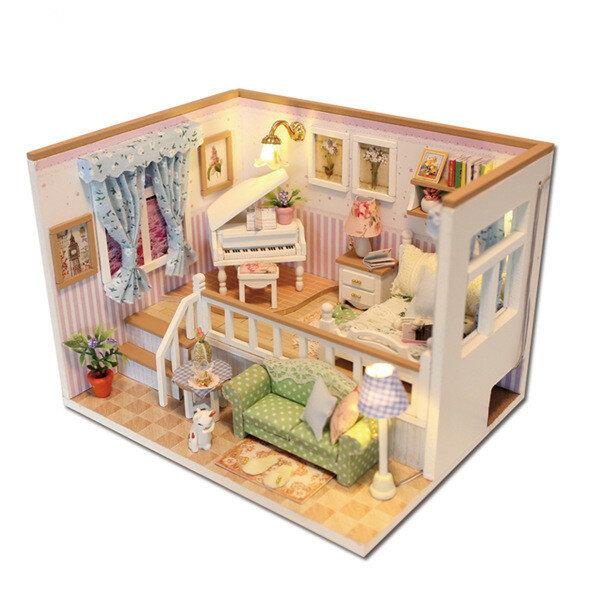 Hoomeda M026 DIY Casa de Muñecas de Madera Miniatura Gracias por Ti Luces LED