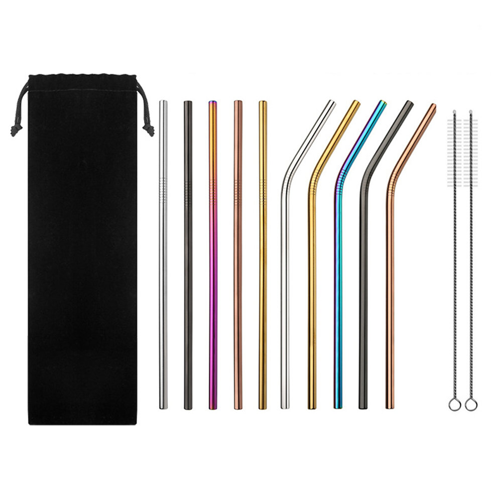 Set of 10 Multi-Color Stainless Steel Straws Drinking Tumblers Cold Beverage Cup Straw Brush, Banggood  - buy with discount