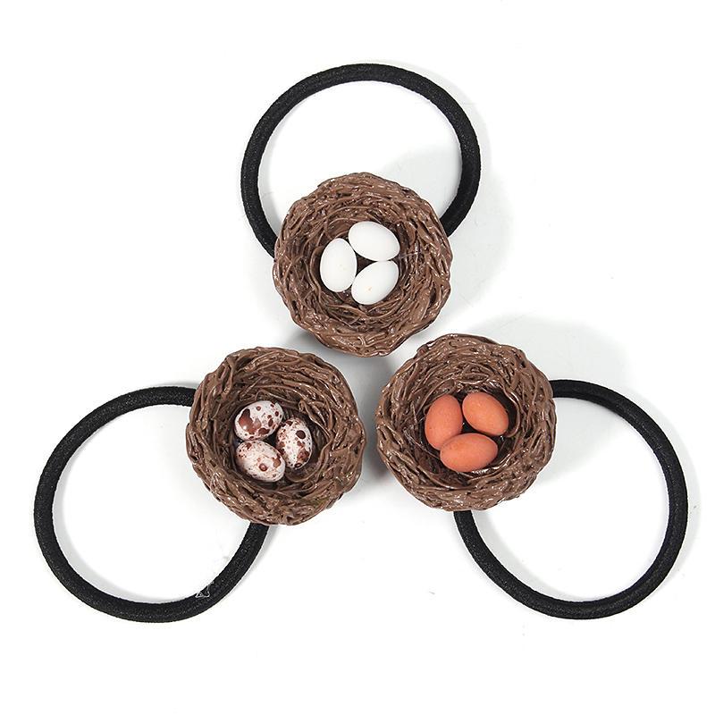 Cute Hen House White Orange Brown Egg Hairpin Hair Ring Hoop Gift