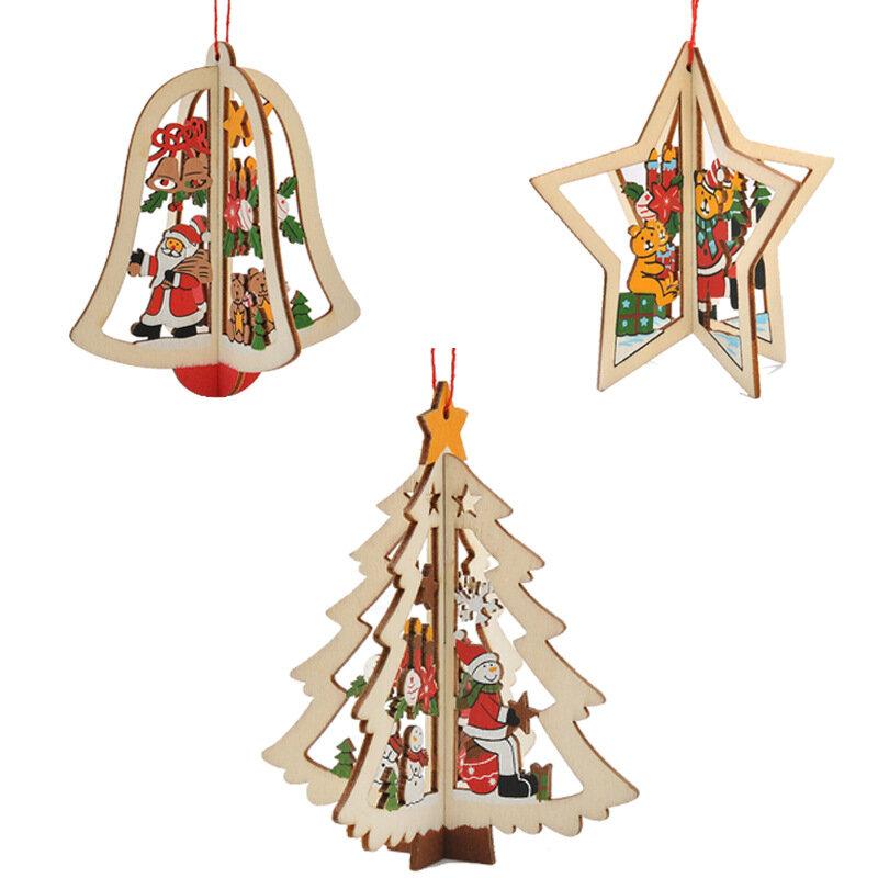 Navidad 3D de madera Colgante Star Bell Tree cuelgan adornos Home Party Decoraciones niños regalos