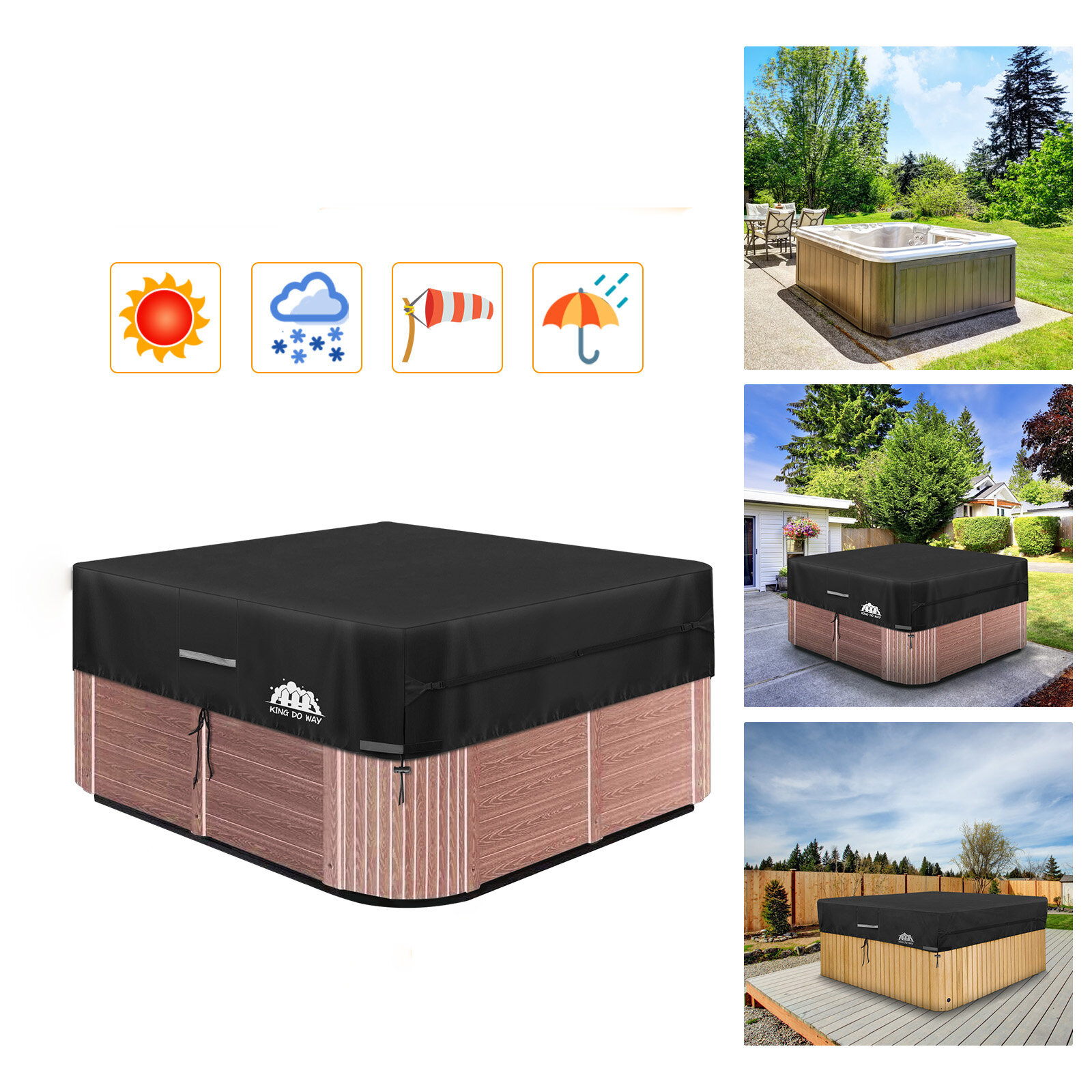 87inch Black Heavy Duty Hot Tub Cover Water-Resistant Polyester Spa Cover