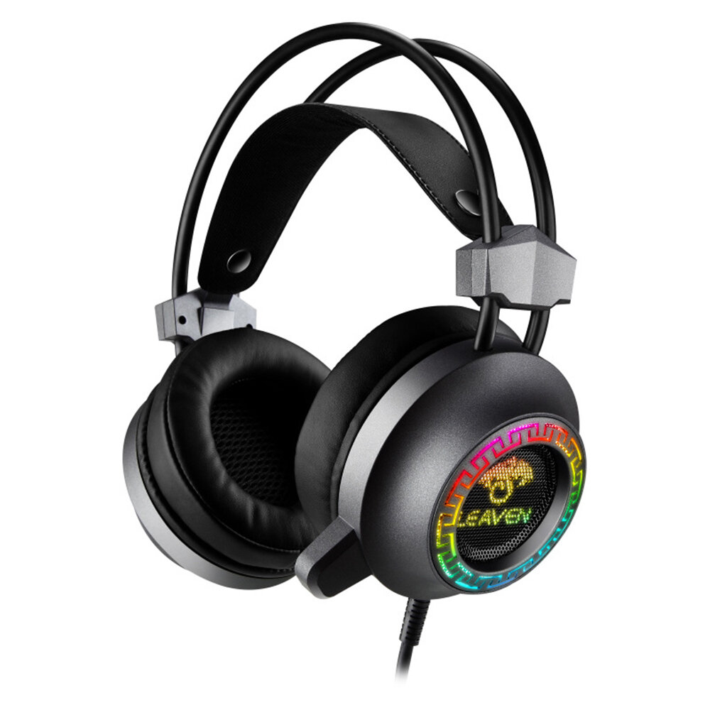 LEVAEN G60 Gaming Headset Virtual 7.1 Surround Sound 50mm Unit Powerful Bass RGB Light Noise Reduction Mic for PC