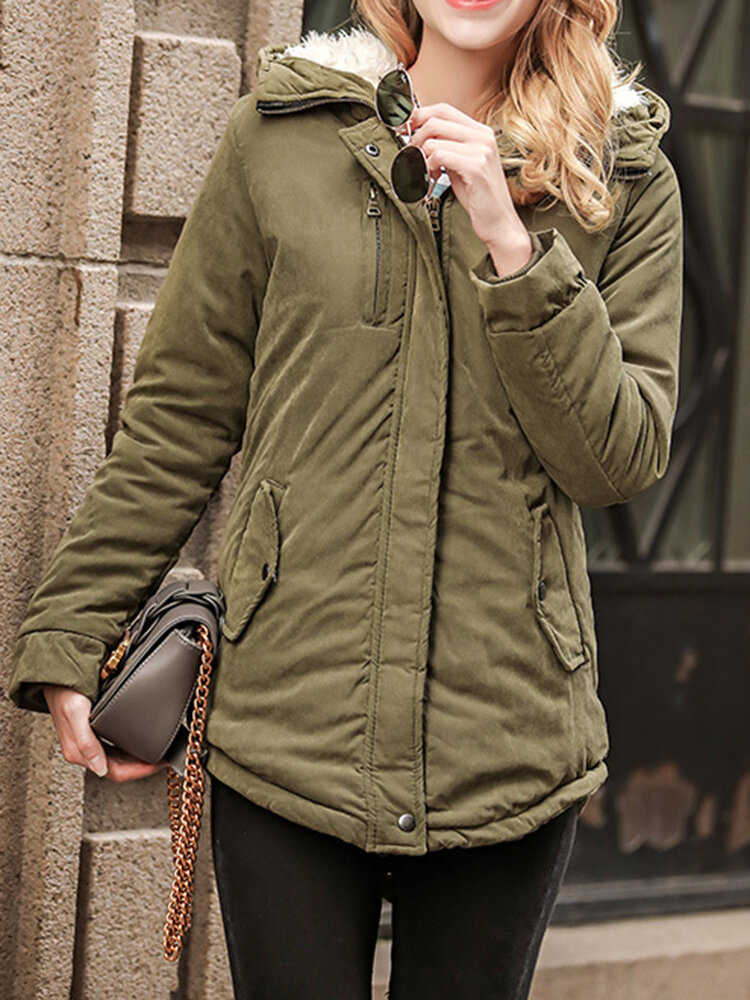 Women Casual Pure Color Faux Fur Hooded Drawstring Thick Coats