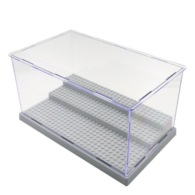 3 pasos juguetes Acrílico de protección a prueba de polvo caso bandeja de caja de exhibición de bricolaje