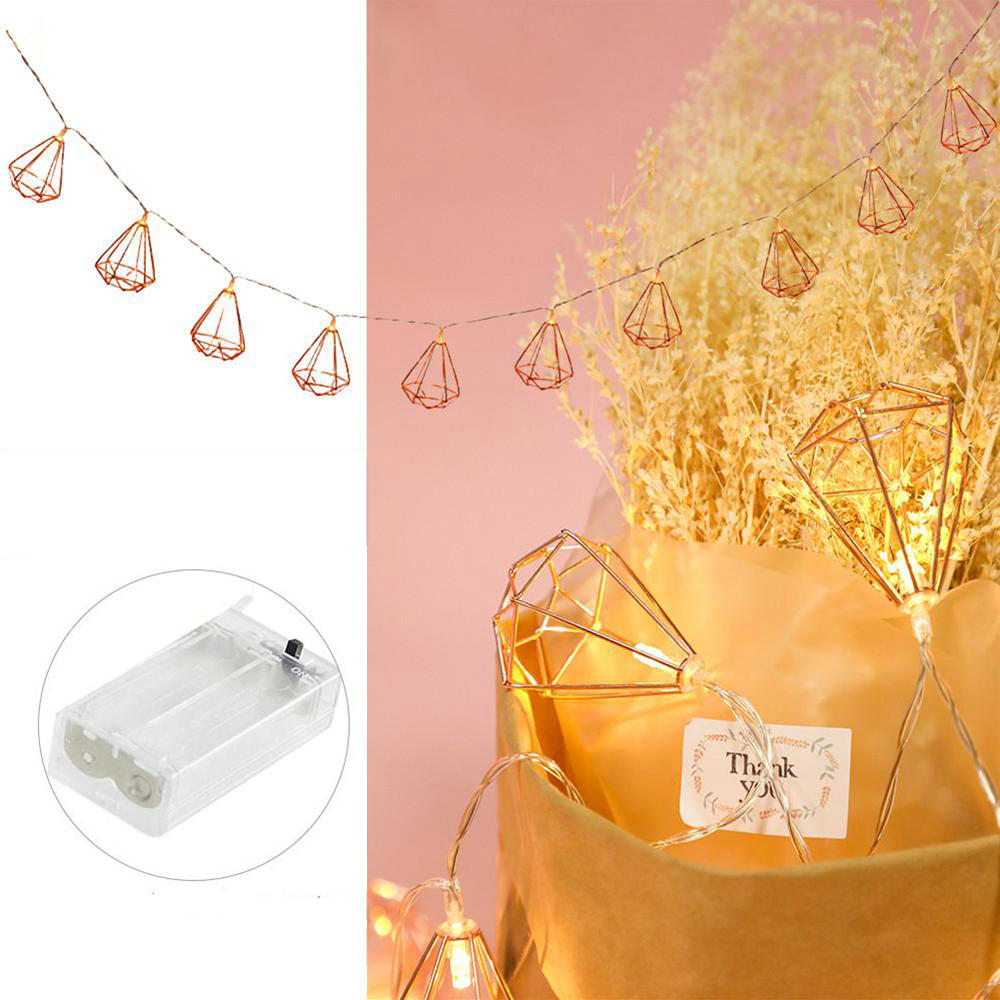 Battery Operated 1.5M 6W 10LED Warm White Rose Gold Long Hexagon Shape String Light for Christams