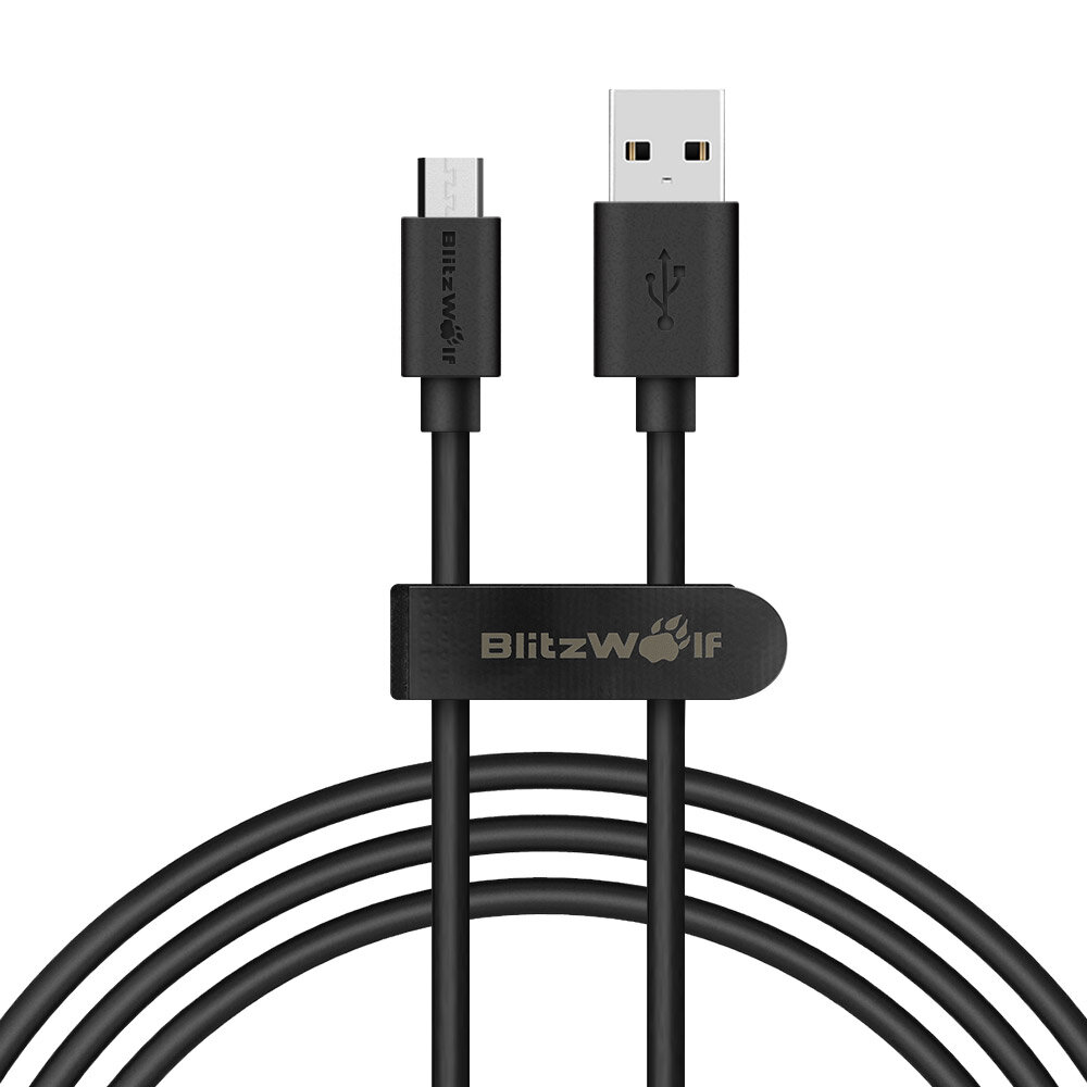 BlitzWolf® BW-CB7 2.4A 3ft/0.9m Micro USB Charging Data Cable With Magic Tape Strap