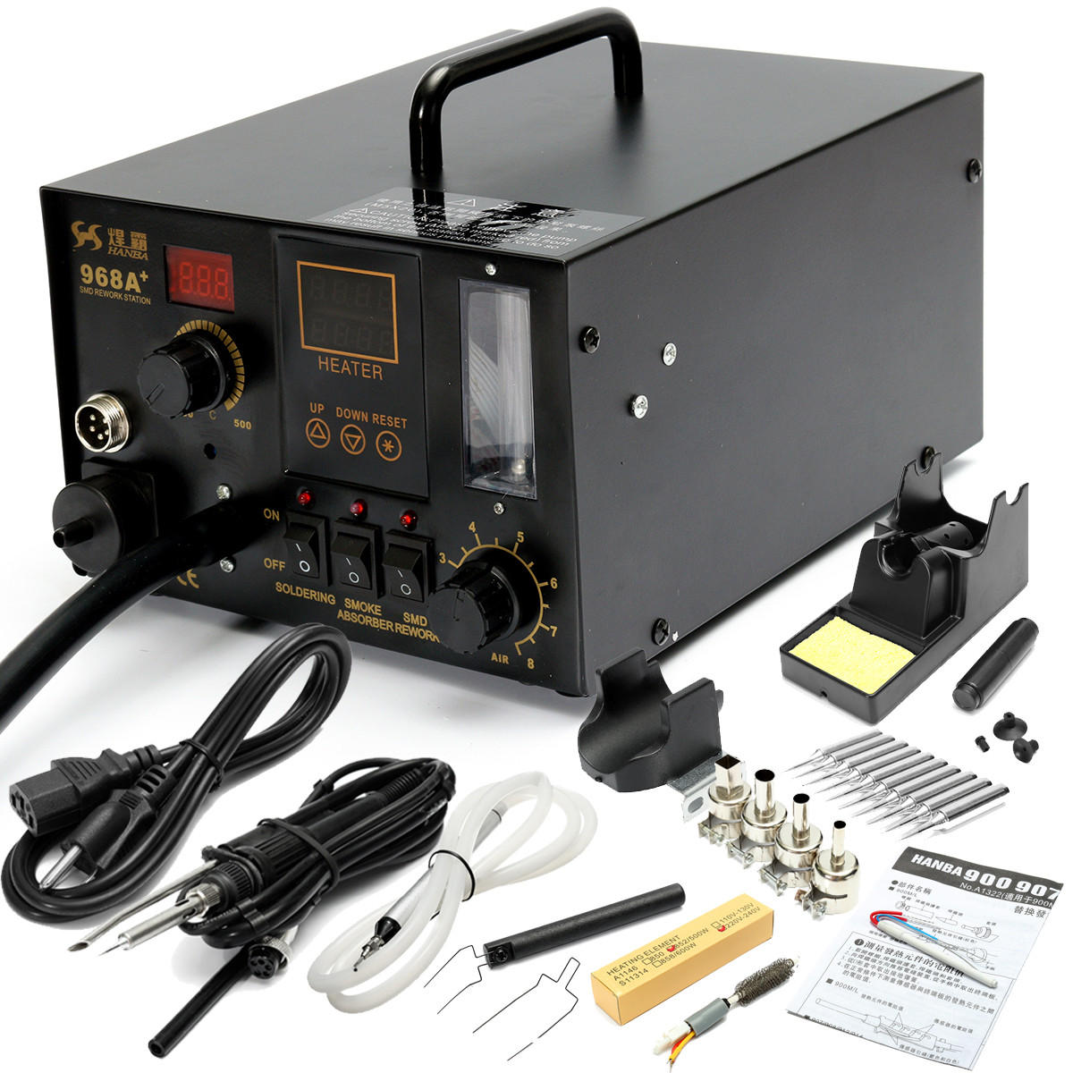 4 in 1 Digital Soldering Iron /& Hot Air Station Complete Kit Free Ship 968A