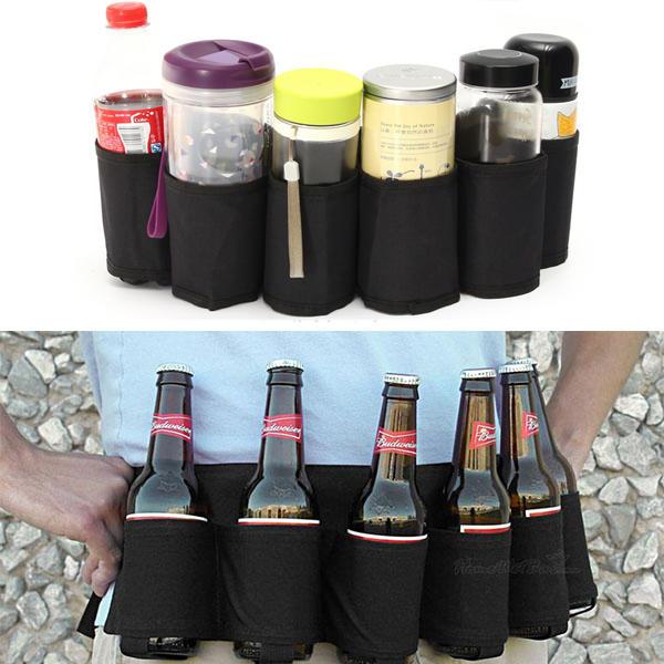 Outdoor Six Pack Beer Belt Bottle Waist Bag Portable Beverage Drink Cans Holder Camping Gathering