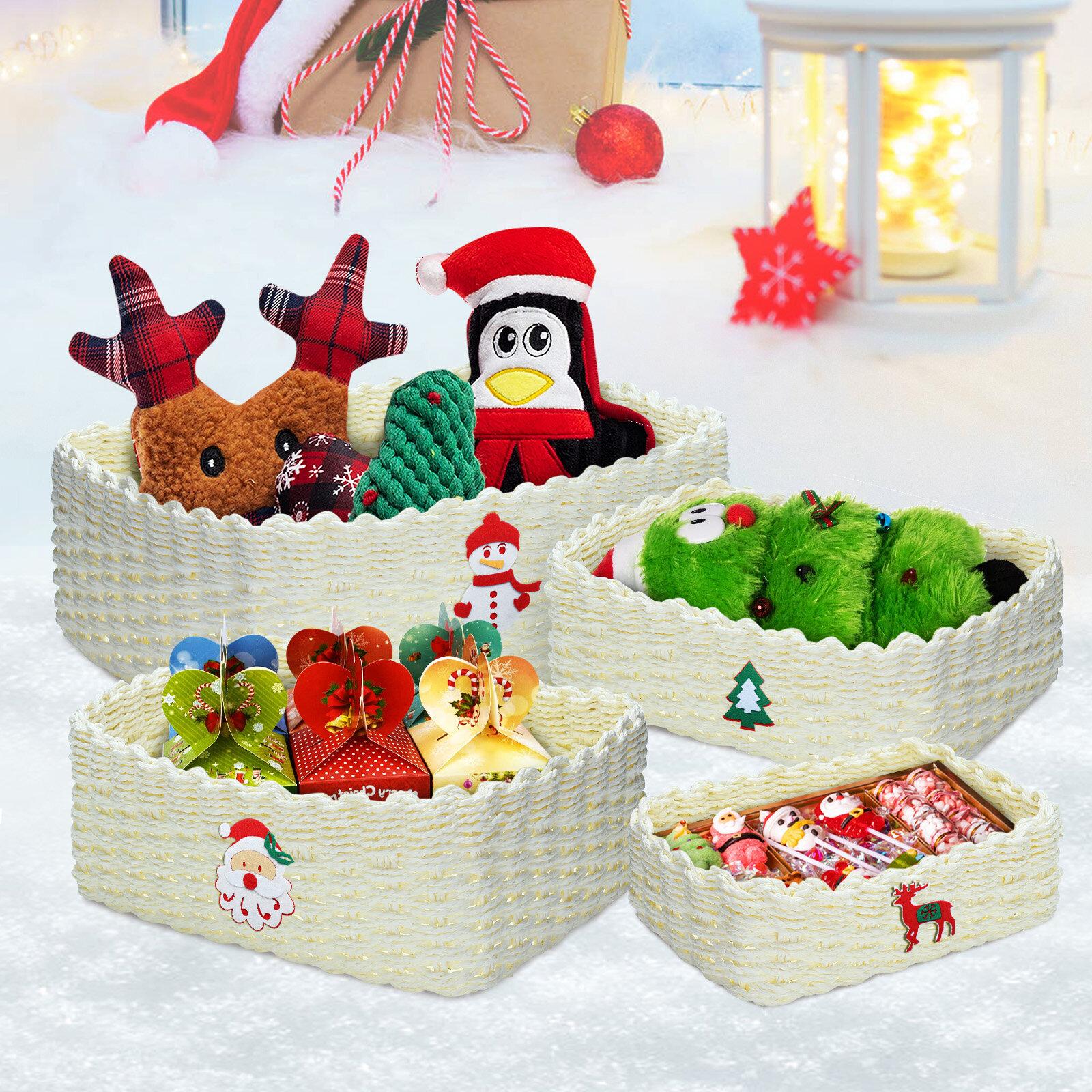 KING DO WAY 4PCS Christmas Handmade Woven Storage Basket Set Durable Eco-friendly Storage Basket
