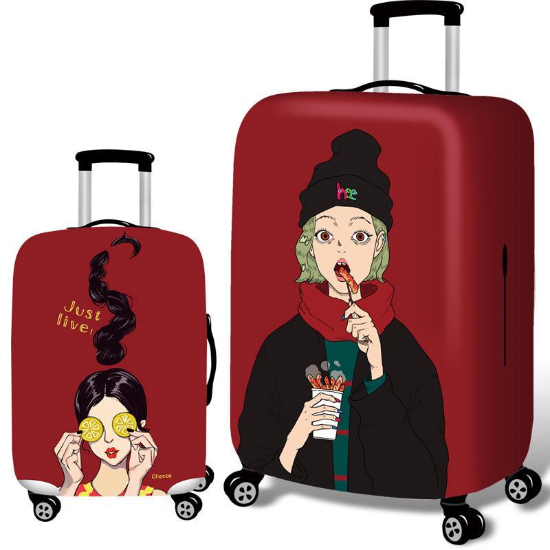 होनाना कूल गर्ल्स लोचदार सामान कवर ट्रॉली केस कवर टिकाऊ सूटकेस रक्षक 18-32 इंच केस गर्म यात्रा सहाय