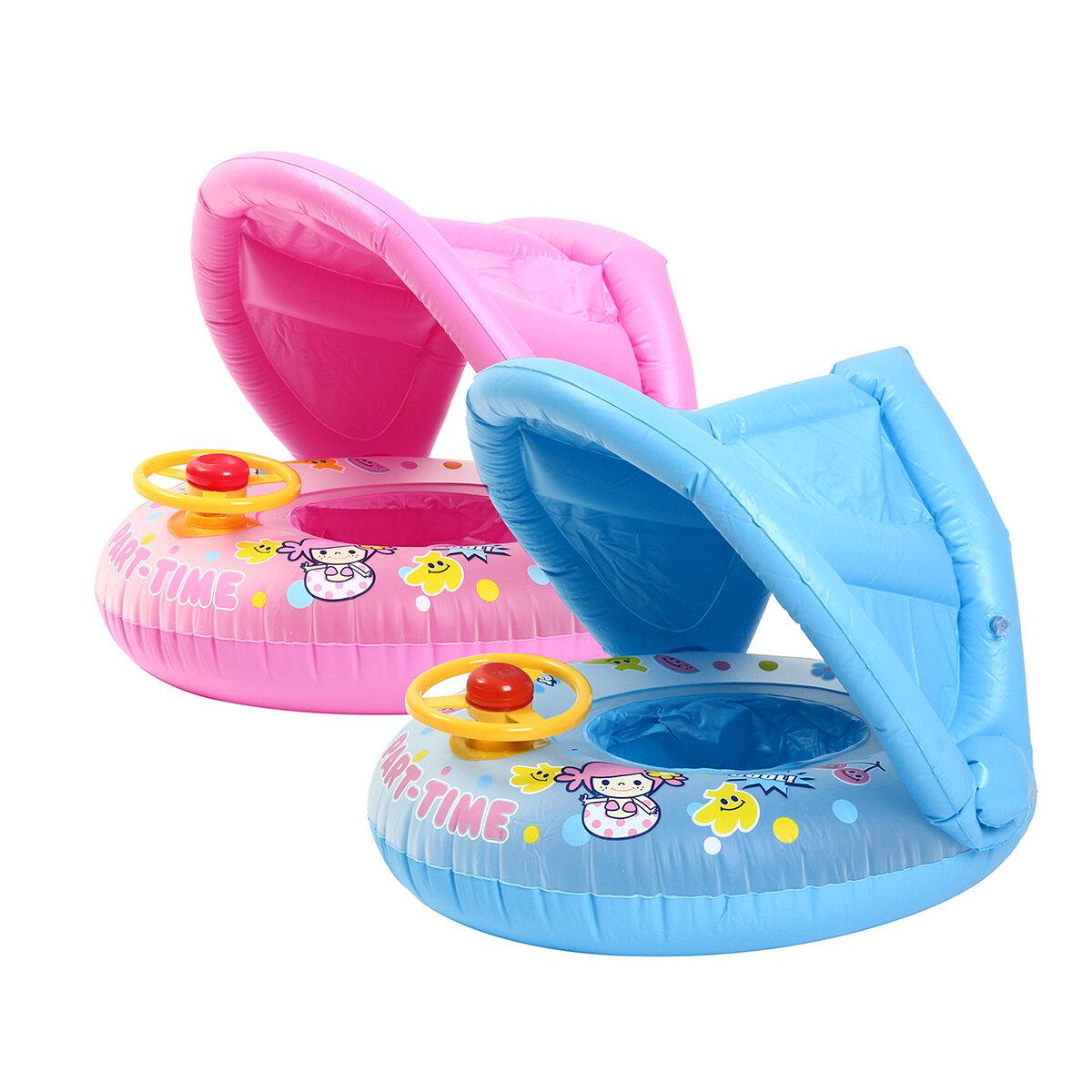 76d69195b Inflatable Sunshade Baby Kids Water Float Seat Boat Swimming Ring Pool Fun