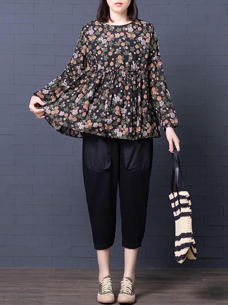 Blusa plisada de manga larga con estampado floral retro con cuello en O