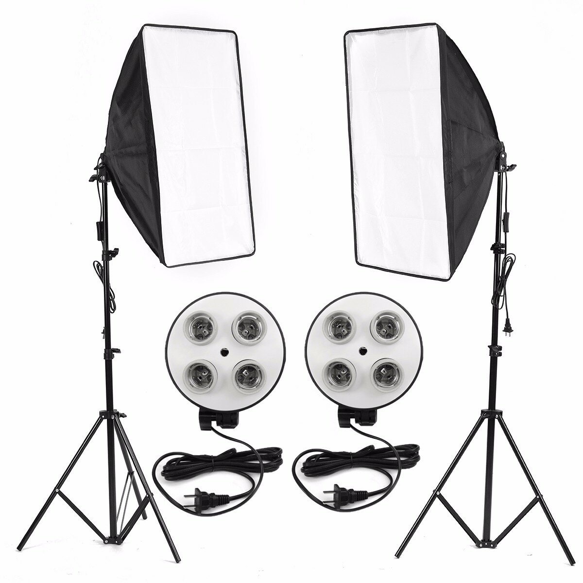 Photo Video Studio Lighting Kit 4 Socket E27 Lamp Holder Softbox Light Stands