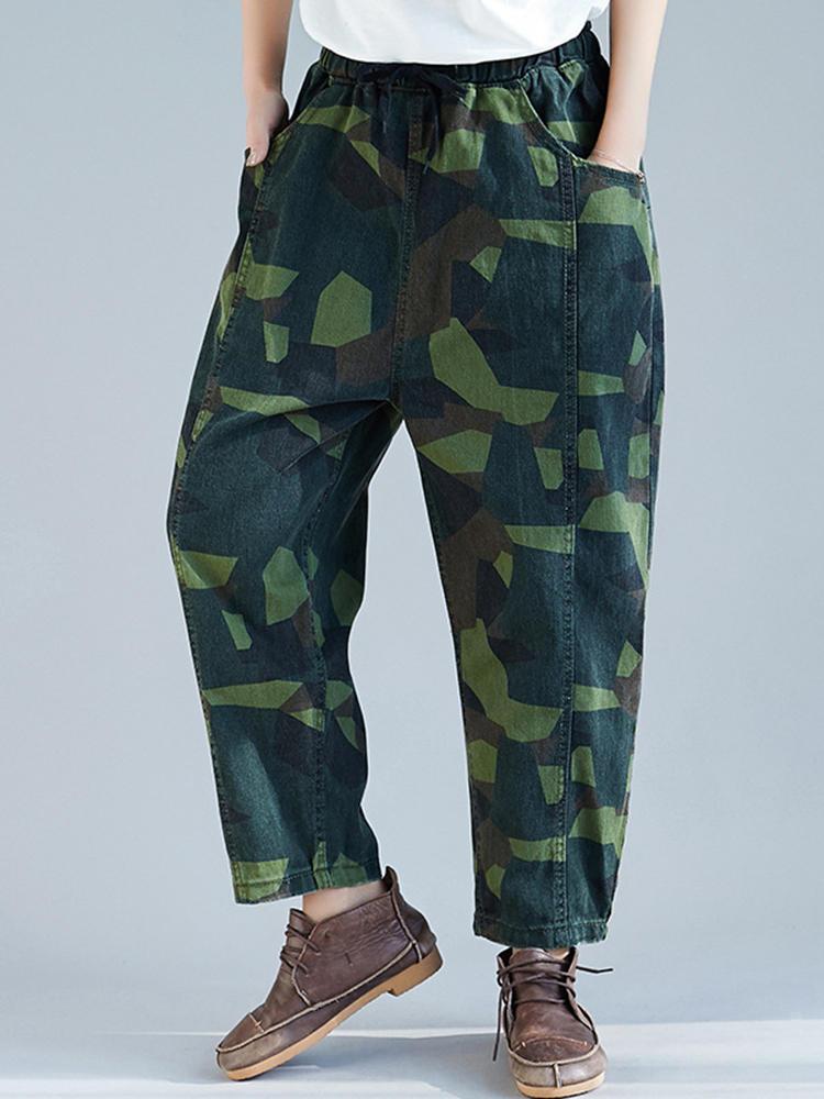 Women Camouflage Print Elastic Waist Pockets Harem Pants