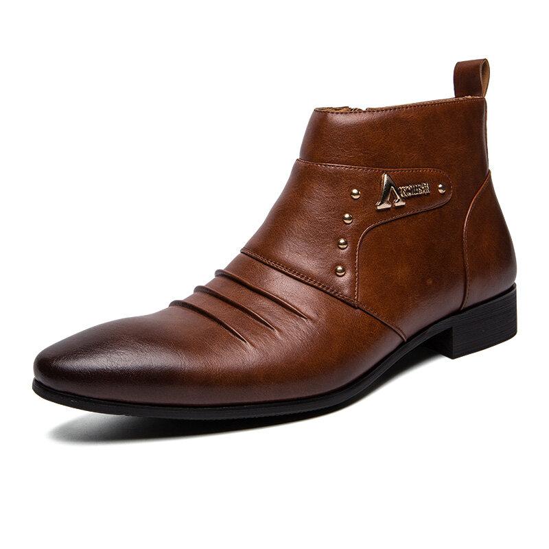 पुरुषों की आकस्मिक असली लेदर पैर की अंगुली व्यापार टखने जूते बताया