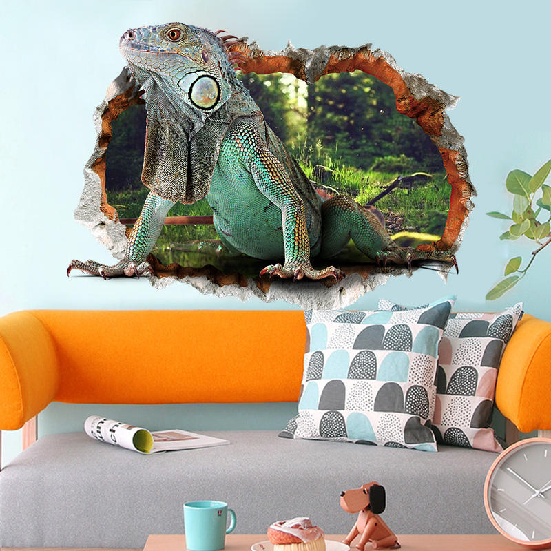 Miico 3D Creative PVC Wall Stickers Home Decor Mural Art Removable Lizard Wall Decals