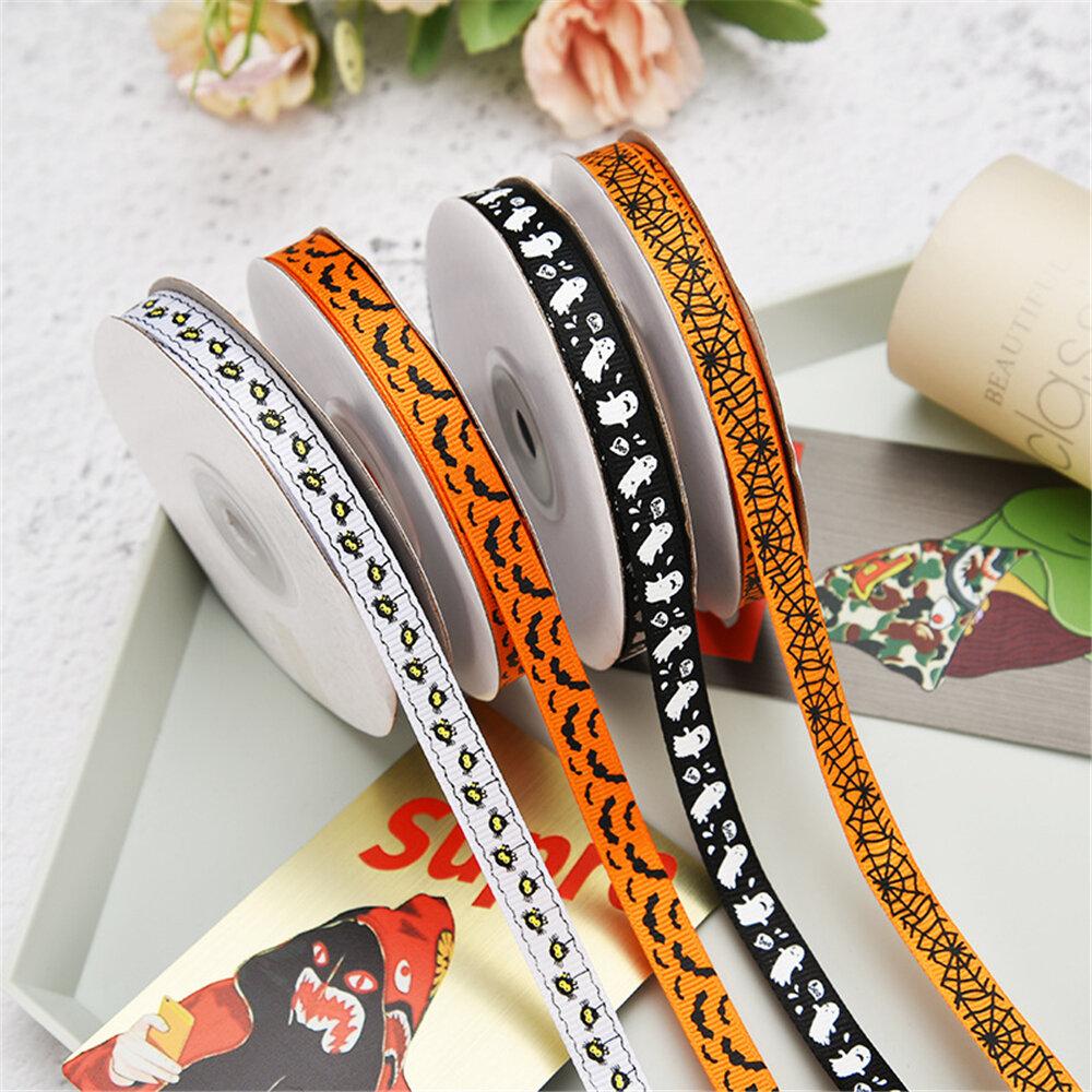 25 Yards 1cm Halloween Grosgrain Ribbon Printed Ribbons Polyester Ribbon For Wedding Christmas Decoration DIY Handmade