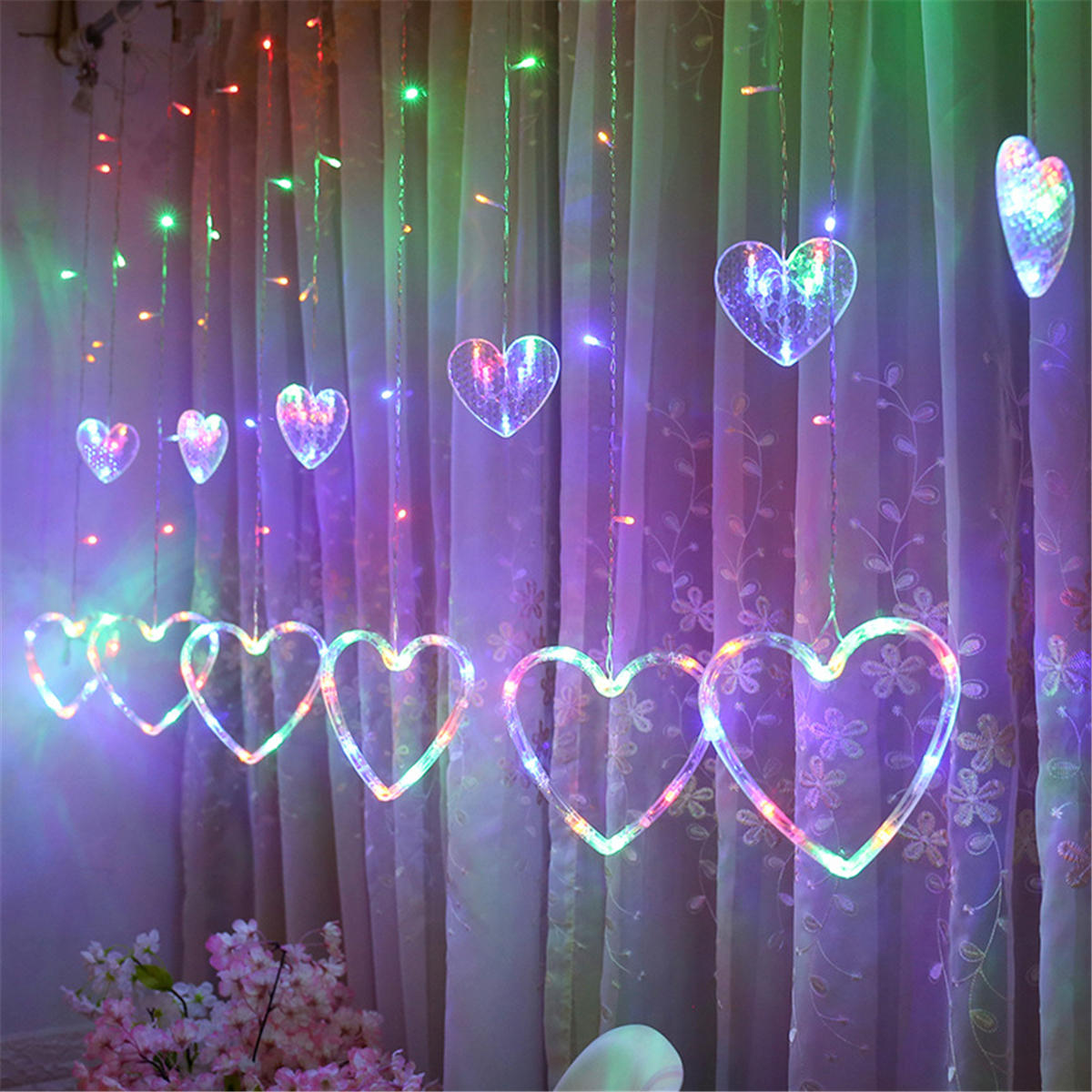 Window Curtain LED String Lights Christmas Led Wedding Valentine Day Party Fairy Decorations