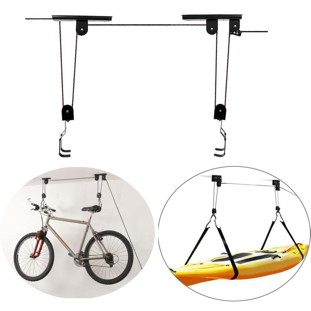 BIKIGHT Bike Bicycle Lift Ceiling Mounted Hoist Storage Garage Bike Hanger  Save Space Roof Ceiling Pulley Rack Wall Mounted Bike Hook Bearing 20KG