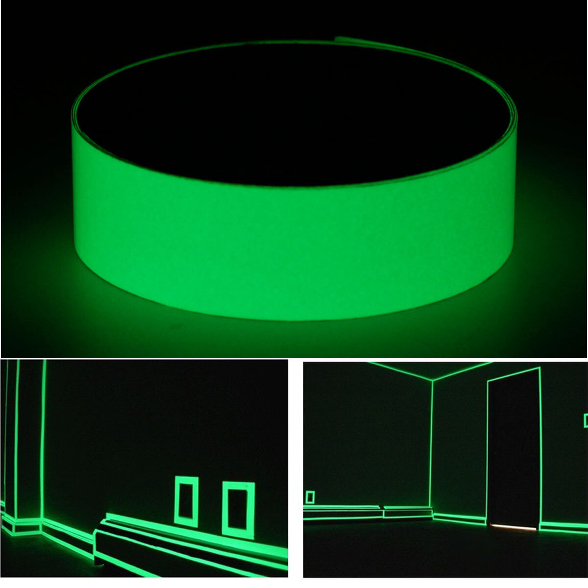 12mmx10m Photoluminescent Tape Glow At Darkness Egress Safety Mark Bright Green