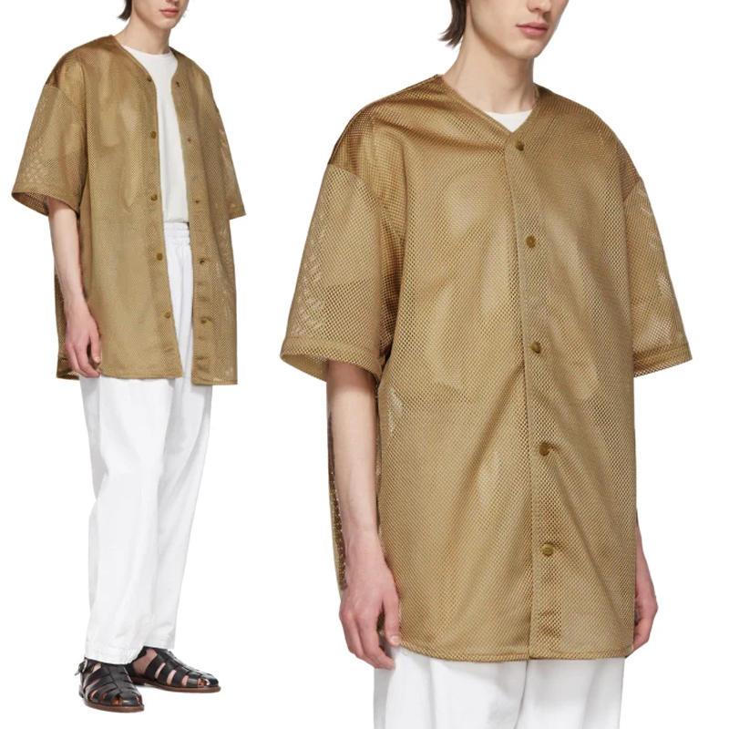 Mens Summer Mesh Design Short Sleeve V Neck Soft Casual Loose Shirts