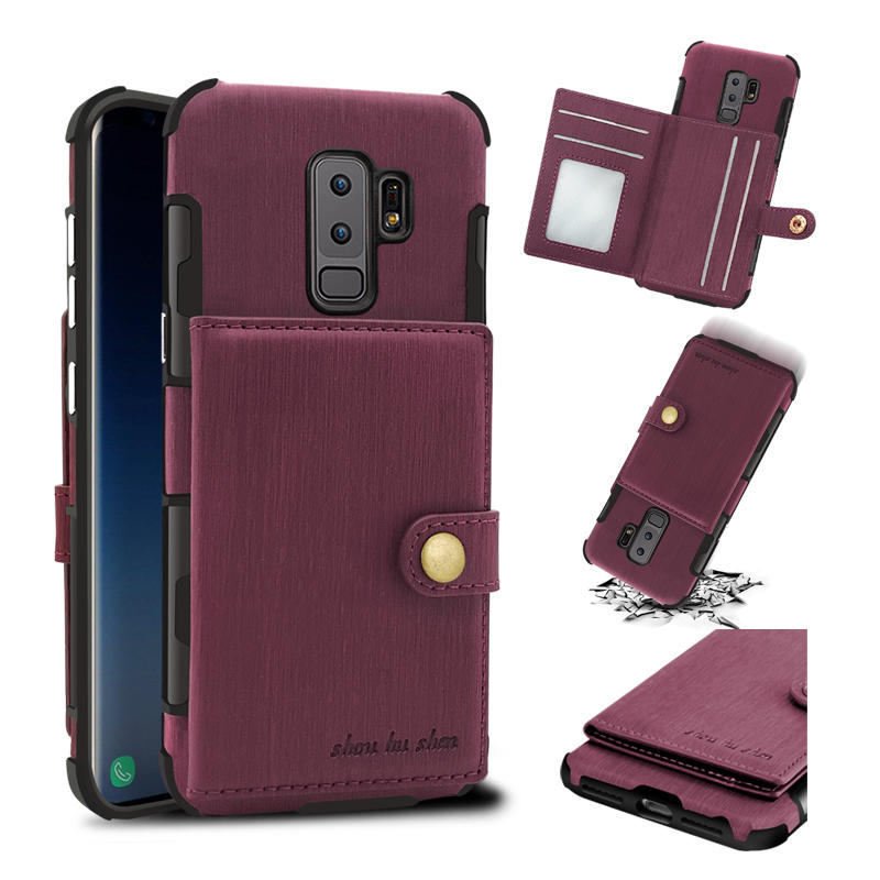 Brushed Finish Vintage Wallet Card Slots Protective Case For Samsung Galaxy S9/S9 Plus