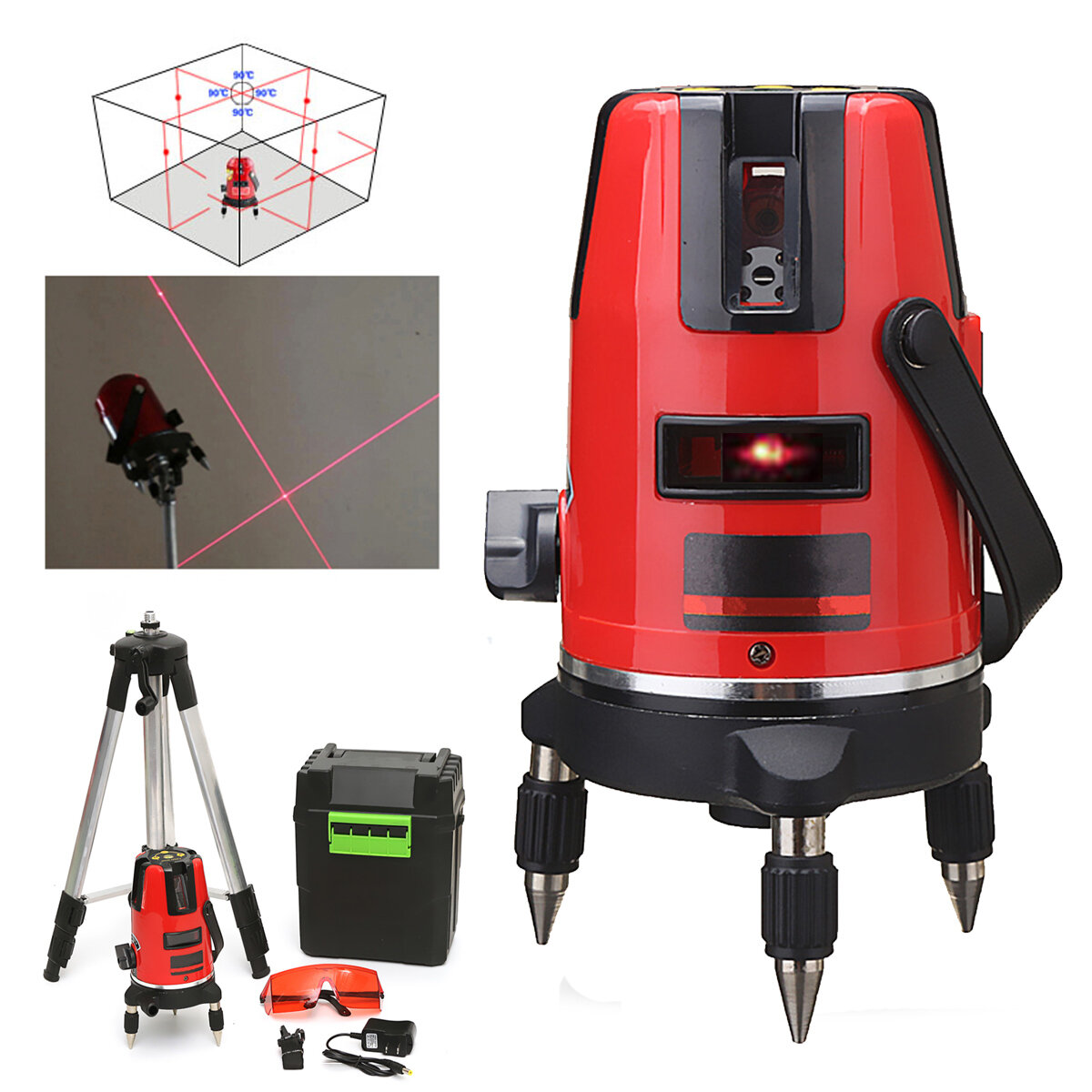 Laser Level 5 Lines 6 Points Vertical /& Horizontal 360 Outdoor Measuring Tool