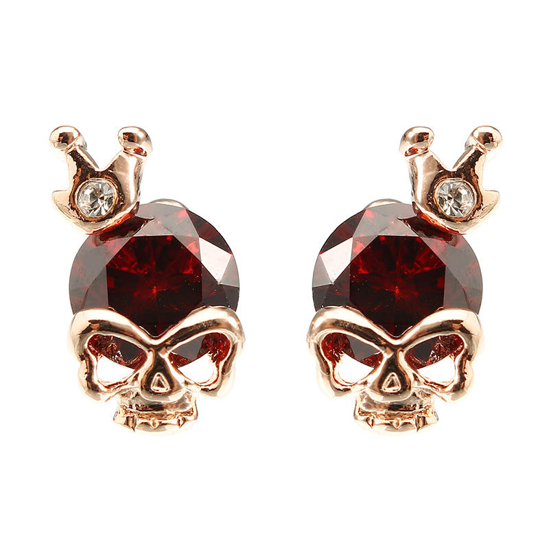 Punk Skull Crown Ear Stud Exquisite Zinc Alloy Rhinestones Earrings for Women