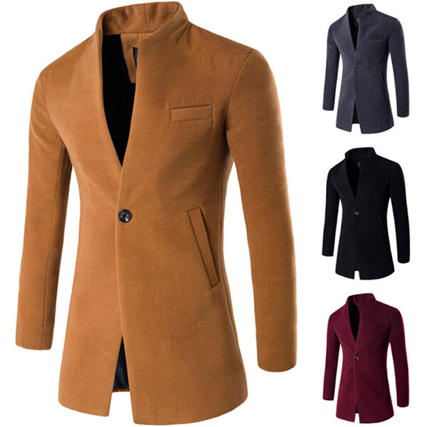Mens Business One Nút đứng cổ áo Thời trang Casual Slim Fit Áo khoác len