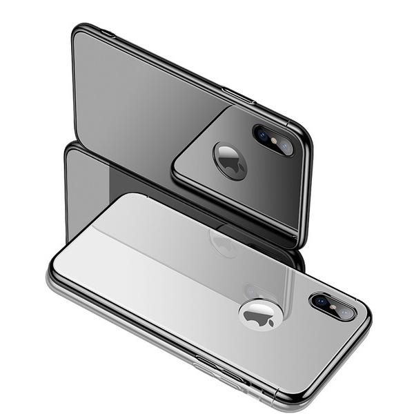 Bakeey 3 IN 1 Plating Frame Tempered Glass Protective Case for iPhone X