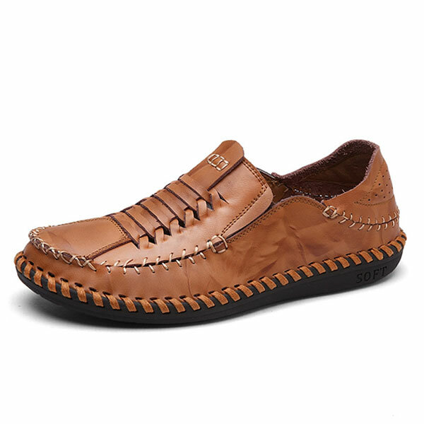Men Genuine Leather Hand Stitching Woven Style Oxfords Shoes