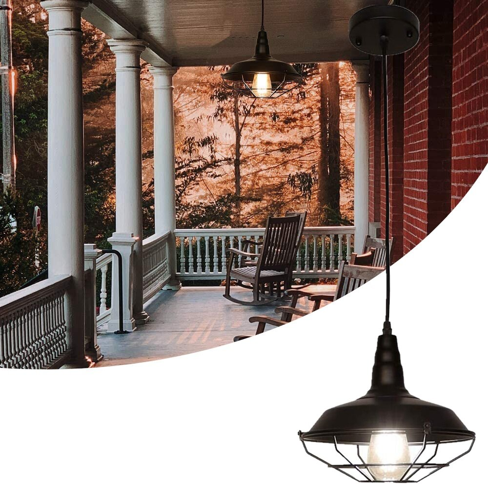 Farmhouse Pendant Light Industrial Rustic Black Hanging Light Ceiling Lamp Fixture Lighting with Cage Shade for Kitchen