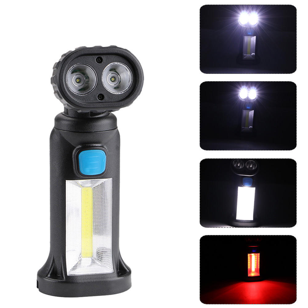 YH8353 4Modes 2 x XPE + COB Whit & Red Lights USB Rechargeable Adjustable Head Magnetic Tail Work Light Maintenance light LED Flashlight