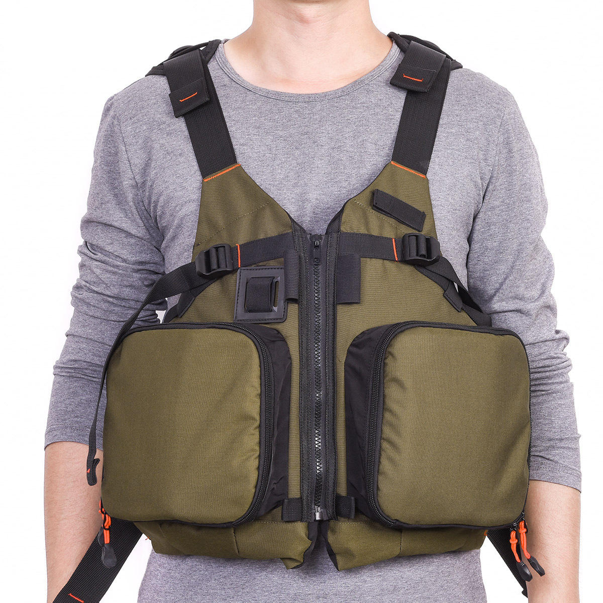 LEO 27988 D86 Olive Green Boat Floating Fishing Jacket Life Jacket Life Vest фото