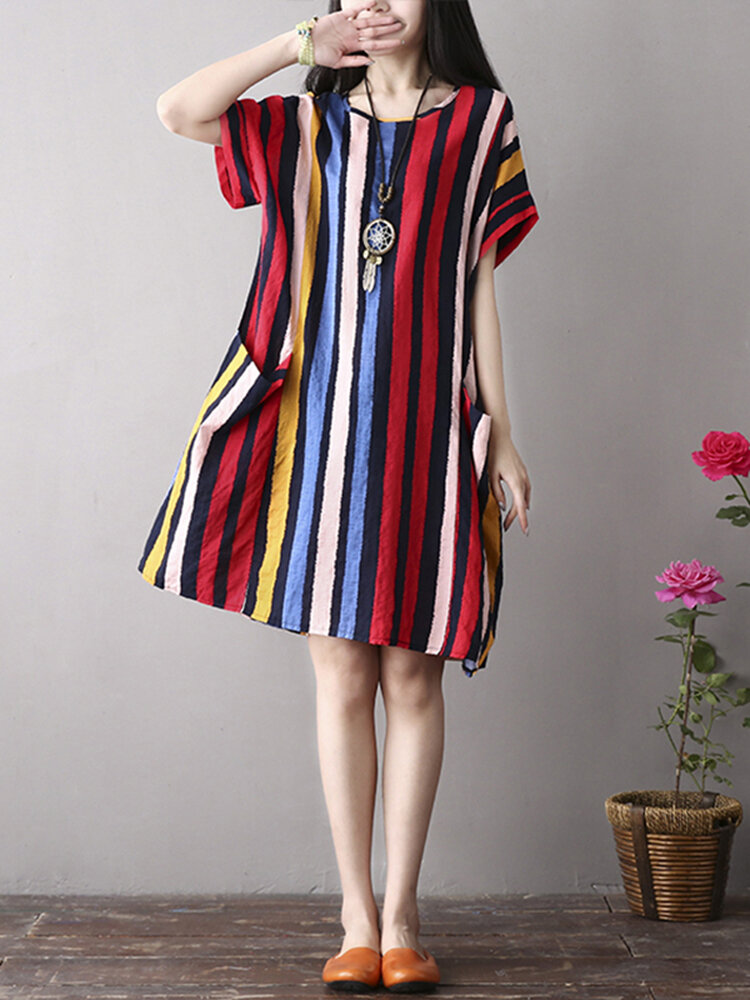 M-5XL Vintage Women Color Stripe Side Pockets Short Sleeve Dress