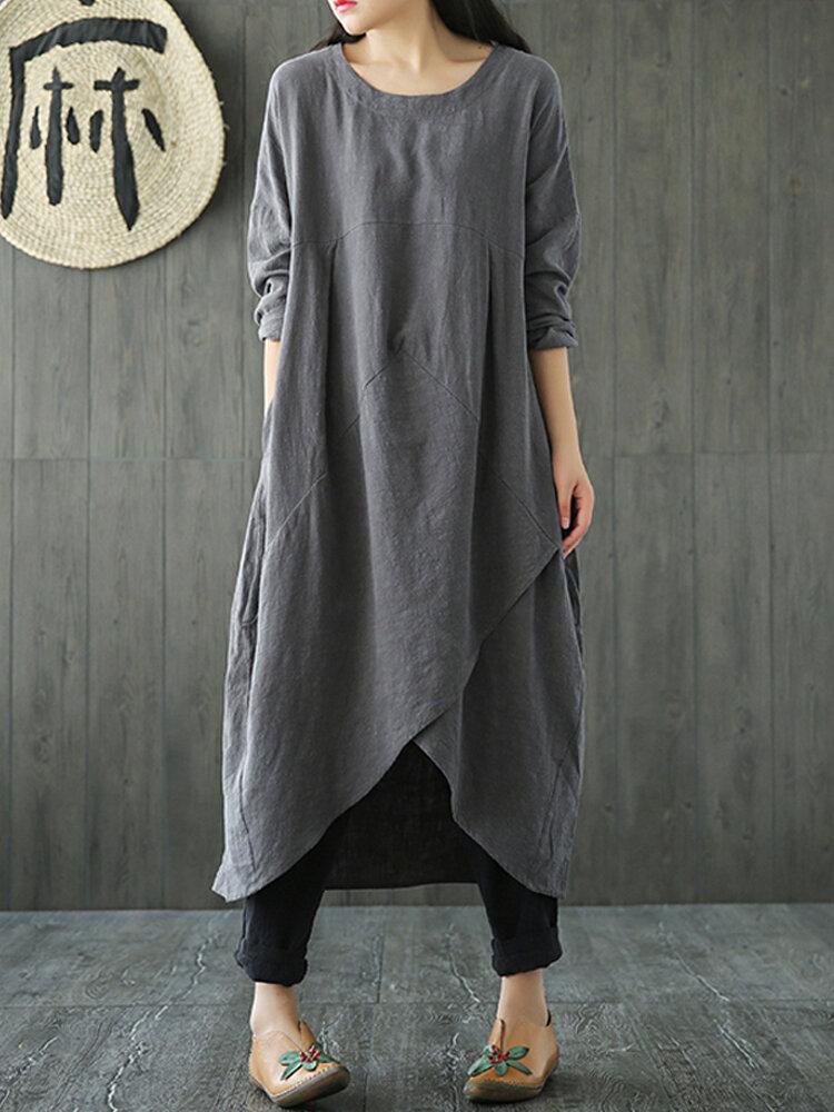 خمر المرأة الجيب الصلبة اللون فستان ماكسي غير النظامية