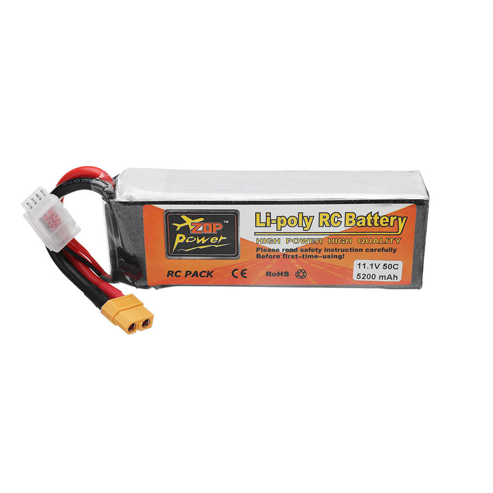 ZOP POWER 11.1V 5200mAh 50C 3S Lipo Battery With XT60 Plug For RC Quadcopter