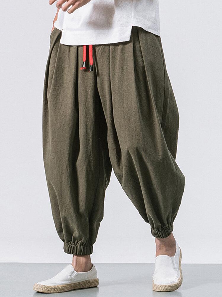 Men Cotton Loose Comfy Baggy Vintage Drawstring Jogger Casual Harem Pants